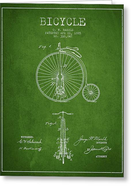 Pedals Greeting Cards - Bicycle Patent Drawing From 1885 - Green Greeting Card by Aged Pixel