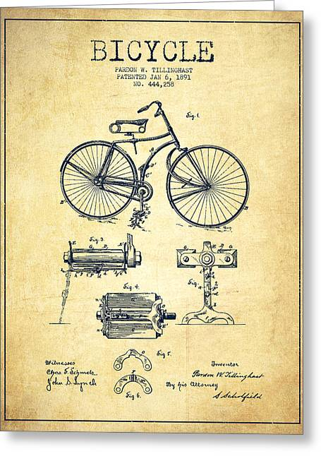 Pedals Greeting Cards - Bicycle Patent Drawing from 1891 - Vintage Greeting Card by Aged Pixel