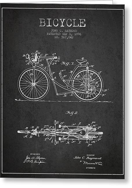 Pedal Greeting Cards - Bicycle Patent Drawing From 1896 - Dark Greeting Card by Aged Pixel
