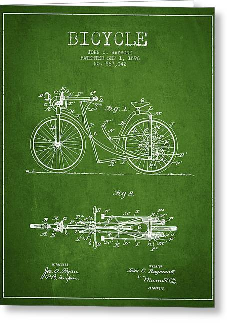 Vintage Bicycle Greeting Cards - Bicycle Patent Drawing From 1896 - Green Greeting Card by Aged Pixel
