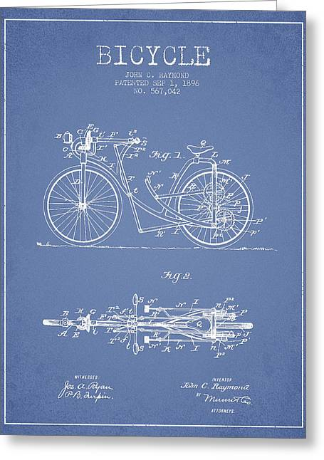 Vintage Bicycle Greeting Cards - Bicycle Patent Drawing From 1896 - Light Blue Greeting Card by Aged Pixel