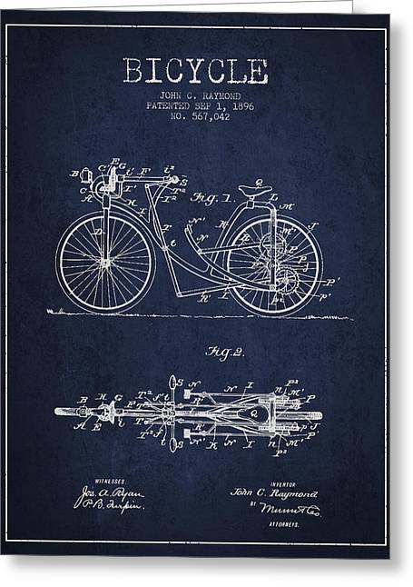 Pedal Greeting Cards - Bicycle Patent Drawing From 1896 - Navy Blue Greeting Card by Aged Pixel