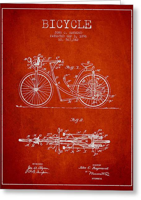 Vintage Bicycle Greeting Cards - Bicycle Patent Drawing From 1896 - Red Greeting Card by Aged Pixel