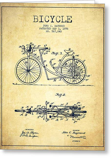Pedals Greeting Cards - Bicycle Patent Drawing From 1896 - Vintage Greeting Card by Aged Pixel