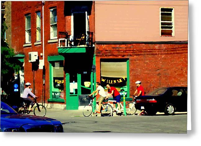 Bicycle Path At Wilenskys Diner Rue Fairmount And Clark Montreal Cafe Street Scene Carole Spandau Greeting Card by Carole Spandau