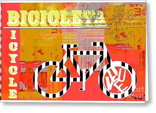 Postcards Mixed Media Greeting Cards - Bicycle Pop Art - Bicicleta Greeting Card by Anahi DeCanio