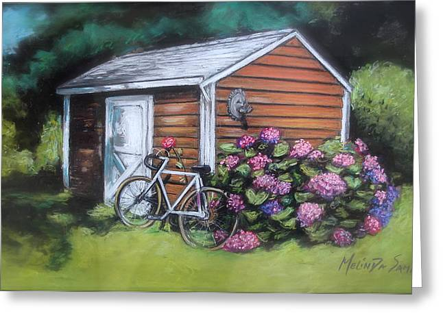 Garden Shed Pastels Greeting Cards - Bicycle Resting on Shed Greeting Card by Melinda Saminski