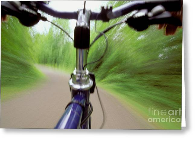Acceleration Greeting Cards - Bicycle Riding Greeting Card by Novastock