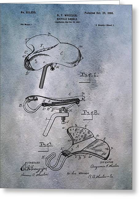 Vintage Bicycle Greeting Cards - Bicycle Seat Patent Greeting Card by Dan Sproul
