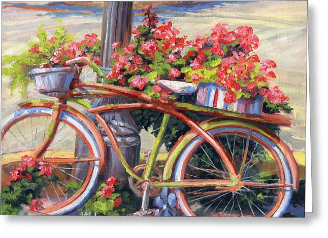 Recently Sold -  - Streetlight Greeting Cards - Bicycle Story Greeting Card by Diane Bay