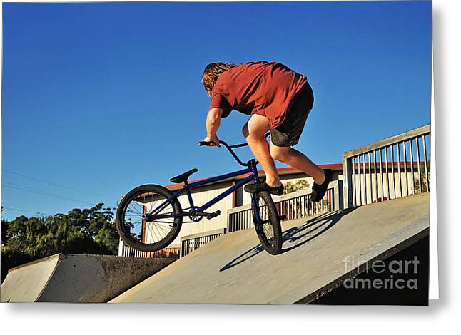 Rotate Greeting Cards - Bicycle Stunt - Action Greeting Card by Kaye Menner