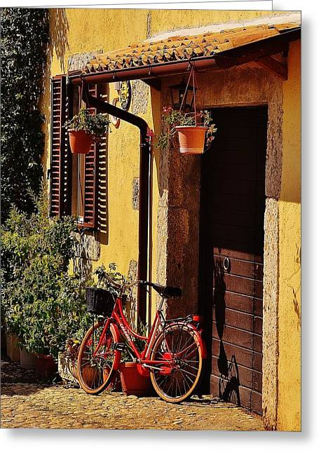 Frontdoor Greeting Cards - Bicycle Under the Porch Greeting Card by Dany  Lison