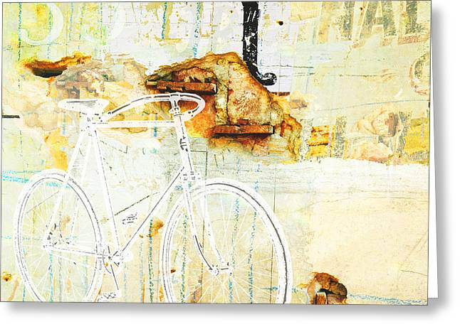 Juvenile Wall Decor Mixed Media Greeting Cards - Bicycle Urban Rustic Industrial Wall collage Greeting Card by ArtyZen Studios - ArtyZen Home