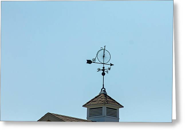 Weathervane Greeting Cards - Bicycle Weathervane Greeting Card by Wayne Stabnaw