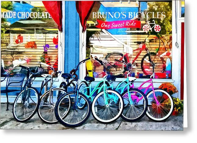 Bicycling Greeting Cards - Bicycles and Chocolate Greeting Card by Susan Savad