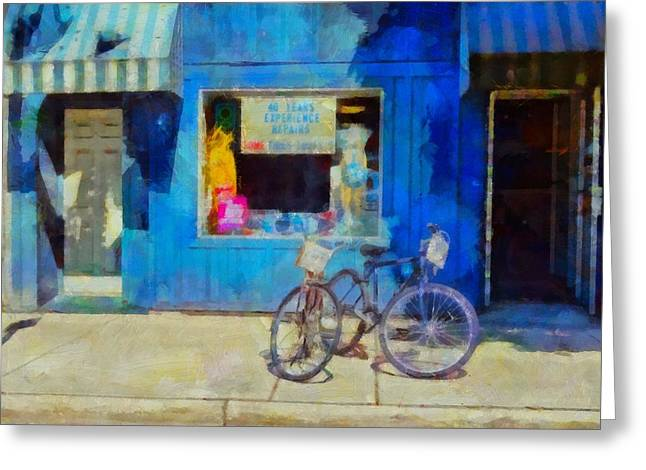 Old Door Mixed Media Greeting Cards - Bicycles For Sale Greeting Card by Dan Sproul