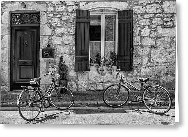 Bicycles Outside A French House Greeting Card by Georgia Fowler