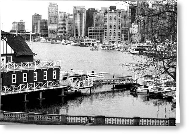 Boats In Harbor Greeting Cards - Bicycling In Vancouver Monochrome Greeting Card by Will Borden