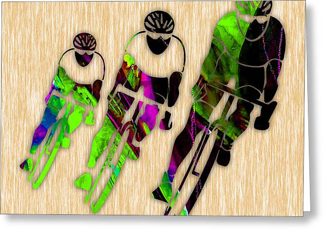 Bicycling Greeting Card by Marvin Blaine
