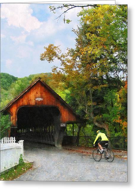 Sport Greeting Cards - Bicyclist at Middle Bridge Woodstock VT Greeting Card by Susan Savad