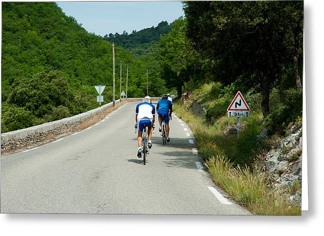 Sportswear Greeting Cards - Bicyclists On The Road, Bonnieux Greeting Card by Panoramic Images