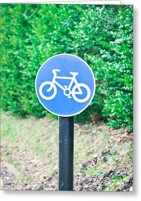 Attention Greeting Cards - Bicyle route Greeting Card by Tom Gowanlock