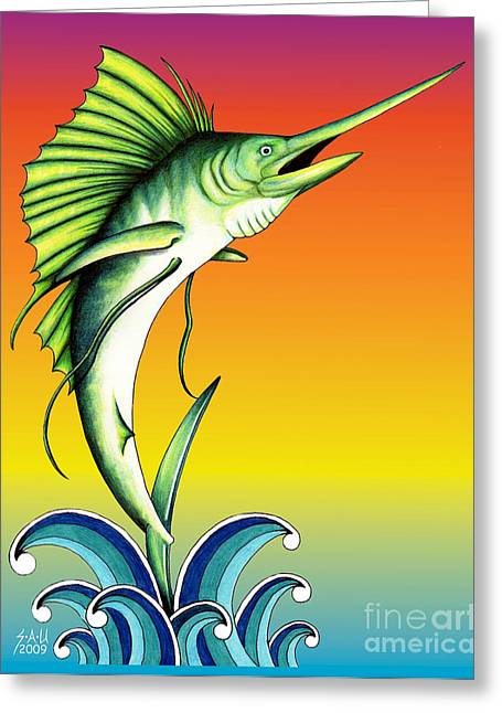 Swordfish Greeting Cards - Bid for freedom Greeting Card by Sheryl Unwin
