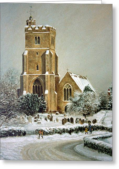 Historical Buildings Pastels Greeting Cards - Biddenden Church Greeting Card by Rosemary Colyer