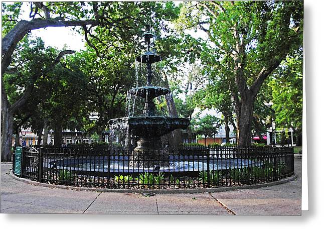 Bienville Fountain Mobile Alabama Greeting Card by Michael Thomas