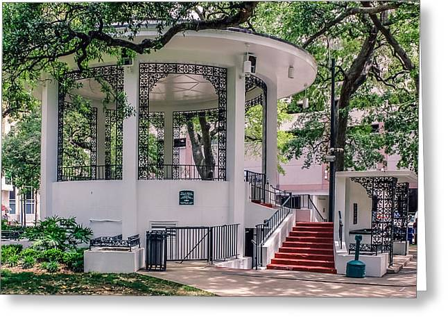 Founders Tree Greeting Cards - Bienville Square Greeting Card by Rob Sellers