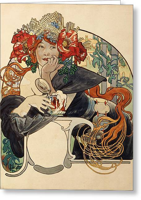 Hair Style Greeting Cards - Biere De La Meuse,  Polychrome Gouache On Buffed Paper Greeting Card by Alphonse Marie Mucha