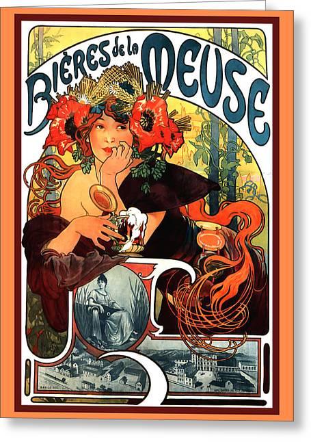 Alphonse Maria Mucha Greeting Cards - Bieres de le Meuse Greeting Card by Alphonse Maria Mucha