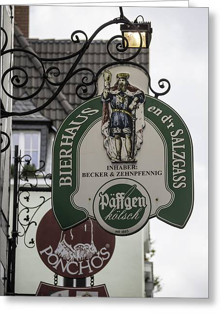 Bier Greeting Cards - Bierhaus en dr Salzgass Sign Cologne Germany Greeting Card by Teresa Mucha