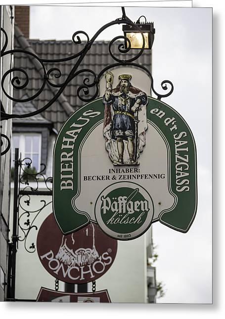 Dï¿¿r Greeting Cards - Bierhaus en dr Salzgass Sign Cologne Germany Greeting Card by Teresa Mucha