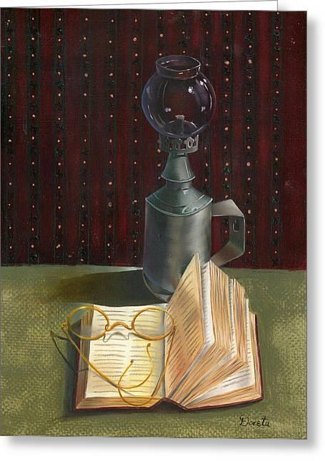 Ledger; Book Paintings Greeting Cards - Bifocal Read Greeting Card by Doreta Y Boyd