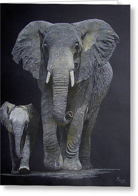 Elephant Pastels Greeting Cards - Big and Small Greeting Card by Margaret Riley