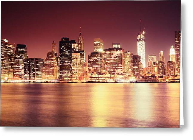 Manhattan Night Greeting Cards - Big Apple - Night Skyline - New York City Greeting Card by Vivienne Gucwa