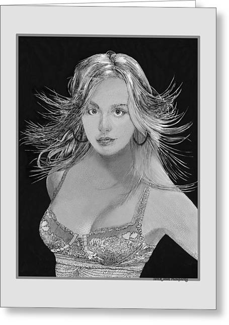 Kaley Cuoco Greeting Card by Jack Pumphrey