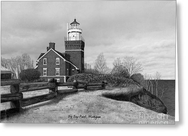 Darren Mixed Media Greeting Cards - Big Bay Point Lighthouse Titled Greeting Card by Darren Kopecky