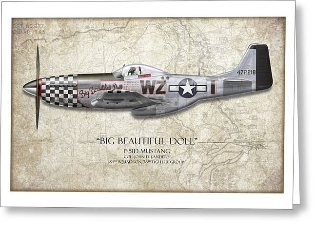 Aircraft Artwork Greeting Cards - Big Beautiful Doll P-51D Mustang - Map Background Greeting Card by Craig Tinder
