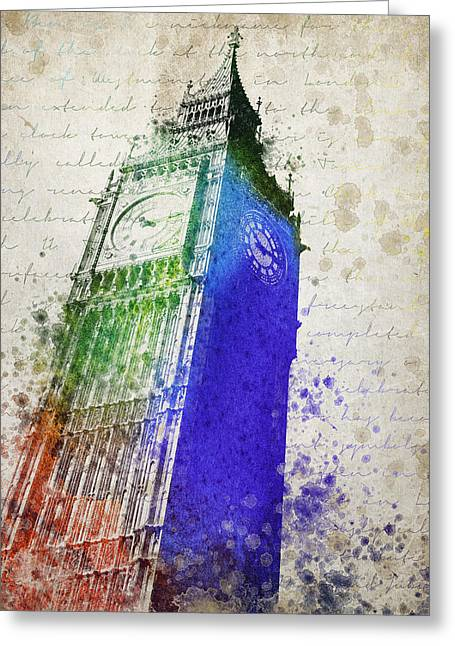 Clock Mixed Media Greeting Cards - Big Ben Greeting Card by Aged Pixel