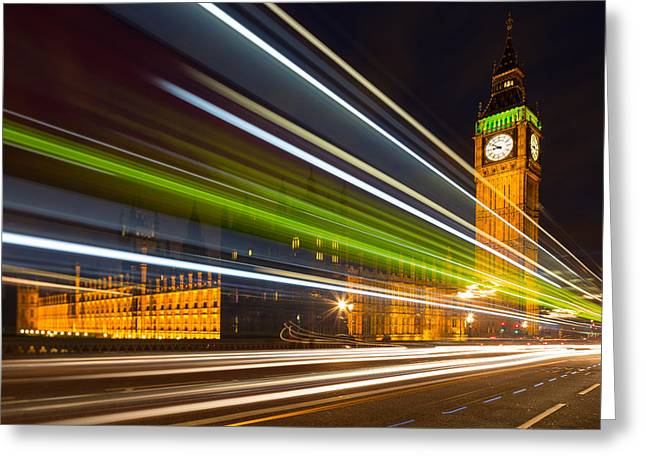 Long Street Greeting Cards - Big Ben and Bus Blur Greeting Card by Adam Pender