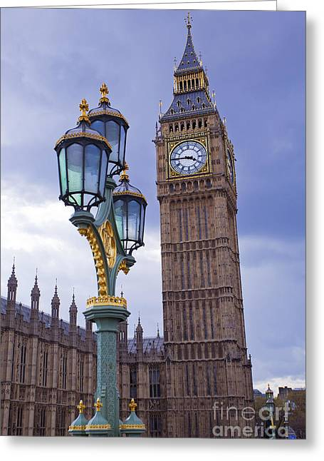 Lamp Post Greeting Cards - Big Ben and Lampost Greeting Card by MGL Meiklejohn Graphics Licensing