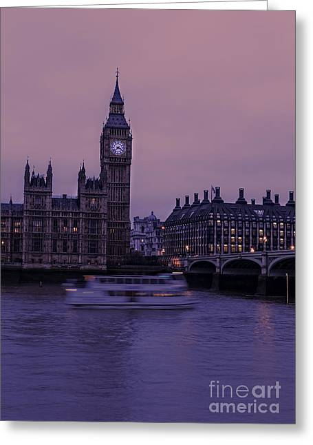 Transport For London Greeting Cards - Big Ben and Red Sky in London Greeting Card by Philip Pound