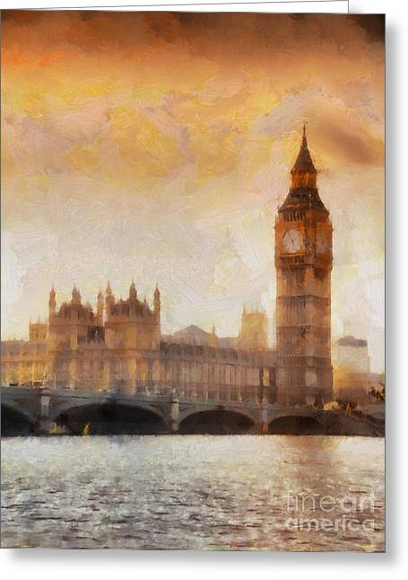 Victorian Greeting Cards - Big Ben at dusk Greeting Card by Pixel Chimp