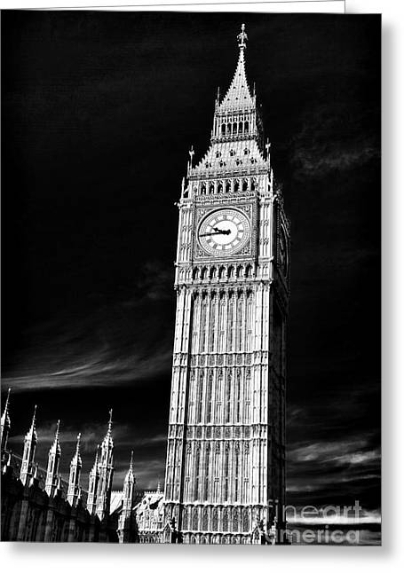 White Decor Posters Greeting Cards - Big Ben Black Greeting Card by John Rizzuto