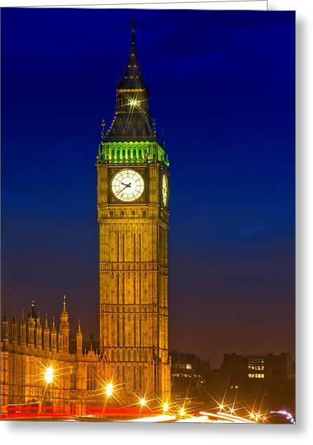 Old Town Digital Art Greeting Cards - Big Ben by Night Greeting Card by Melanie Viola