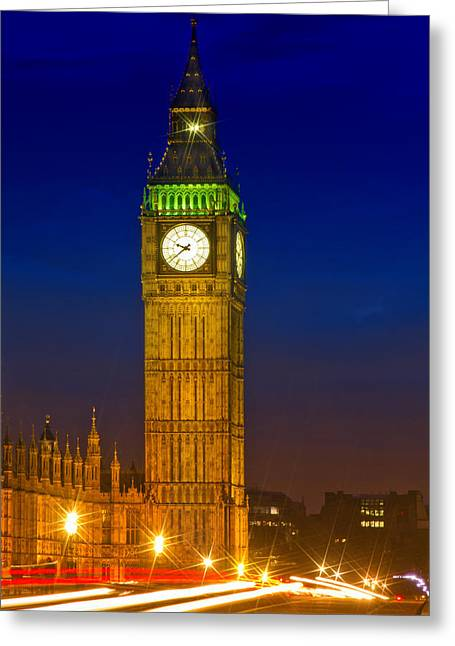 Old Quarter Greeting Cards - Big Ben by Night Greeting Card by Melanie Viola