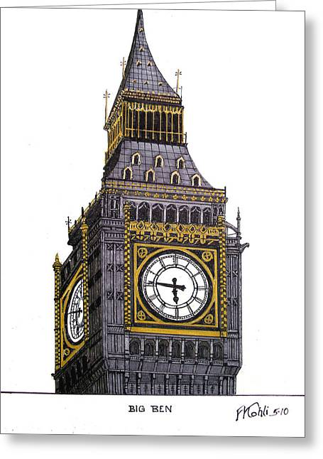 Historic Buildings Images Drawings Greeting Cards - Big Ben Greeting Card by Frederic Kohli
