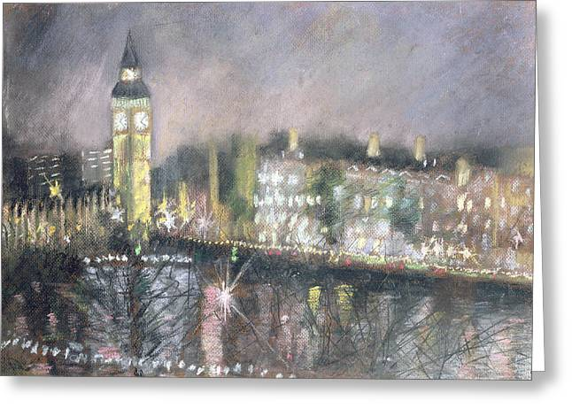 Winter Night Greeting Cards - Big Ben, From The South Bank, 1995 Pastel On Paper Greeting Card by Sophia Elliot